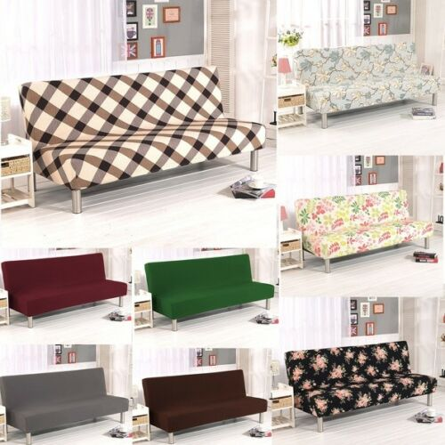 Armless Sofa Bed Chair Cover Stretch Non-Slip Folding Couch