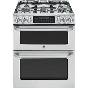 STOVE GE CAFE SLIDE-IN DOUBLE OVEN CONVECTION GAS STAINLESS STEE