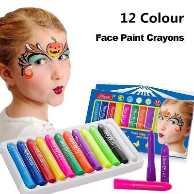 Halloween Faces For Kids (12 Color Body Crayon Art Face Paint Makeup for Carnival Party Halloween)