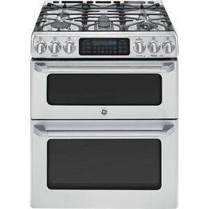 STOVE GE CAFE DOUBLE OVEN GAS SLIDE-IN STAINLESS STEEL OPEN BOX