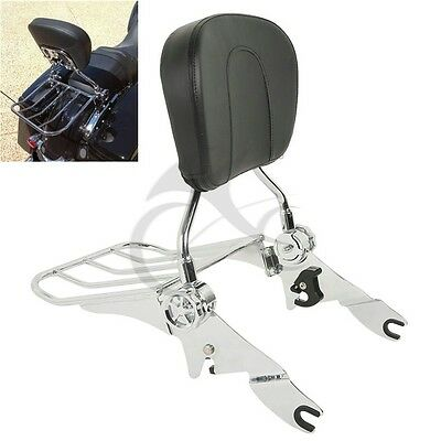 Chrome Detachable Backrest Sissy Bar & Luggage Rack For Harley Touring 2009-2017