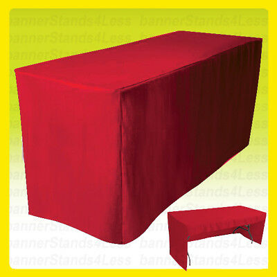 8 Fitted Tablecloth Table Cover Trade Show Event Open Back Side - 3 Sided Red