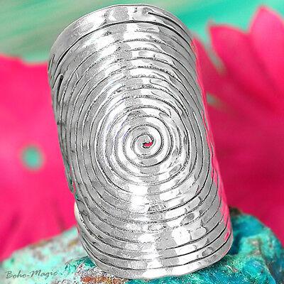 Sterling Silver Ring 925 Genuine Statement Long Spirals Handmade Adjustable Size