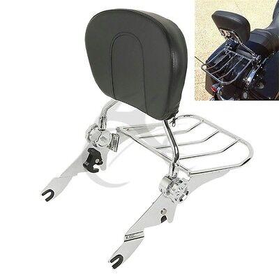 Detachable Backrest Sissy Bar & Rack For Harley Electra Street Road Glide 09-17