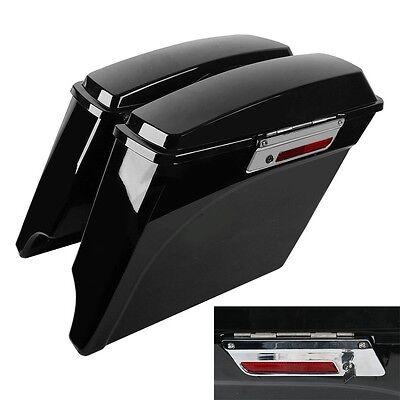 "5"" Vivid Black Stretched Extended Hard Saddlebags For 93-13 Harley Touring Model"