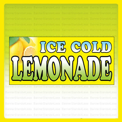 ICE COLD LEMONADE - Vinyl Banner Sign 2, 3, 4, 6, 8, 10, 12, 20 ft yb](Lemonade Signs)