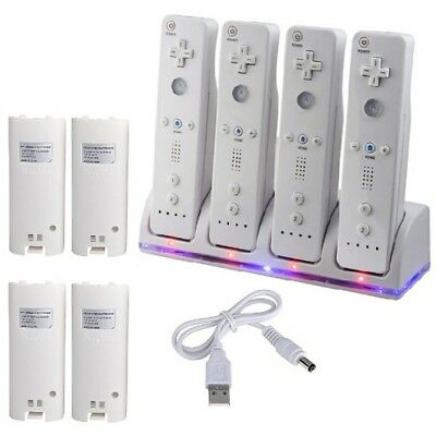 (4pcs White Rechargeable Batteries Charger Dock Station for Wii Remote Controller)