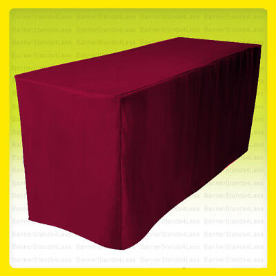 8 Fitted Tablecloth Table Cover Throw Wedding Banquet Trade Show - Burgundy Red