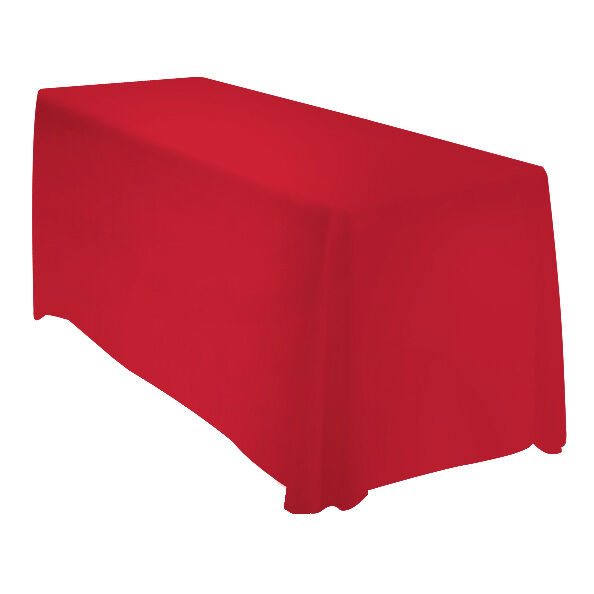 90x156 Tablecloth Table Cover Wedding Banquet Rectangle Polyester - RED