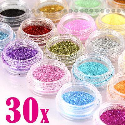 30 Glitter Colors Nail Art Glitter Powder Dust Acrylic UV Gel Tips Set DIY