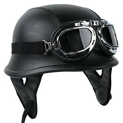 DOT German Black Leather Motorcycle Half Face Helmet Biker Pilot Goggles M L (Leather Half Helmet)