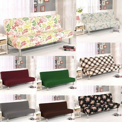 US Armless Sofa Bed Futon Slipcover Stretch Full Folding Couch Furniture Cover