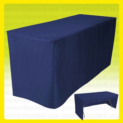 8 Fitted Tablecloth Table Cover Trade Show Event Open Back - 3 Sided Navy Blue
