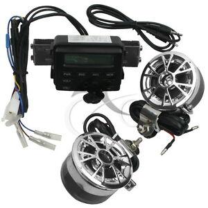 Sound Audio Radio System Handlebar FM MP3 Stereo 2 Speakers Motorcycle/ATV Bike