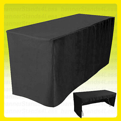 6 Fitted Tablecloth Table Cover Trade Show Event Open Back Side - 3 Sided Black