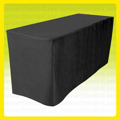 8 Fitted Table Cover Tablecloth Throw Wedding Banquet Trade Show - Black