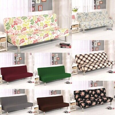WATTA Solid Color Futon Cover Slipcover Couch Chair Soft Loveseat Armless Bed ()