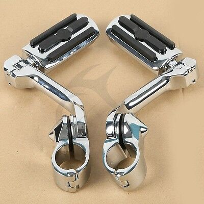 "1.25"" 32mm Long Angled Adjustable Highway Foot Pegs Crash Bar Mount For Harley"