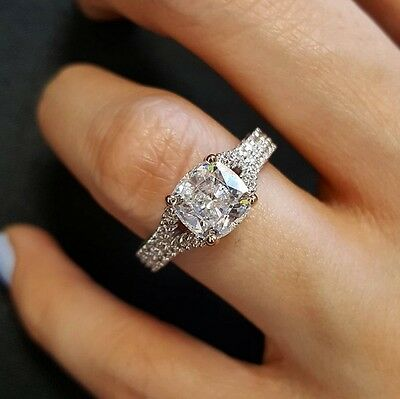 1.60ct Natural Cushion 2-Row Pave Split Shank Diamond Engagement Ring - GIA