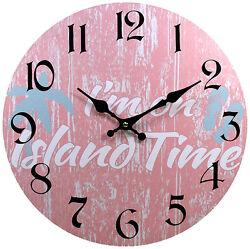 Wood Wall Clock I'm On Island Time 13X13 Marine Coastal Beach Home Decor New
