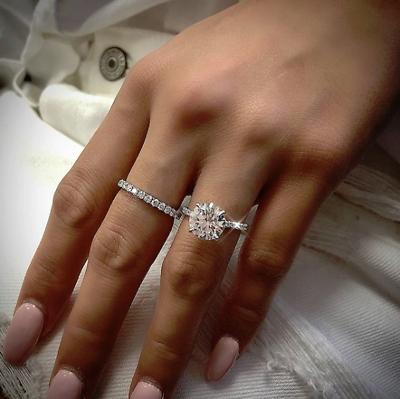 1.50 tcw Natural Round Band Pave Diamond Engagement Bridal Set - GIA Cert