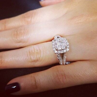 1.70ct Natural Cushion Halo Pave Split Shank Diamond Engagement Ring - GIA