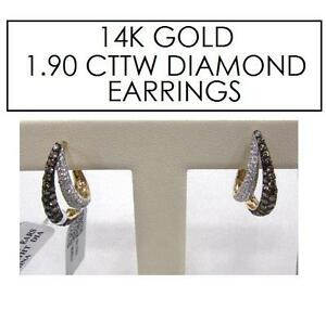 NEW STAMPED 14K DIAMOND EARRINGS JEWELLERY - JEWELRY 14K GOLD - 1.90 CTTW 101766174