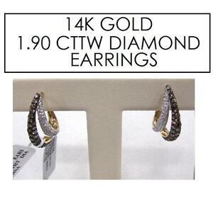 NEW STAMPED 14K DIAMOND EARRINGS JEWELLERY - JEWELRY 14K GOLD - 1.90 CTTW 101766174