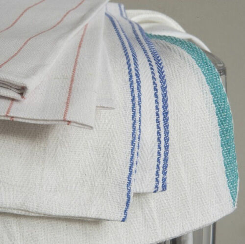 25 LB ASSORTED STRIPE BAR TOWELS WIPERS CLEANING CLOTHS LOW LINT HERRINGBONE