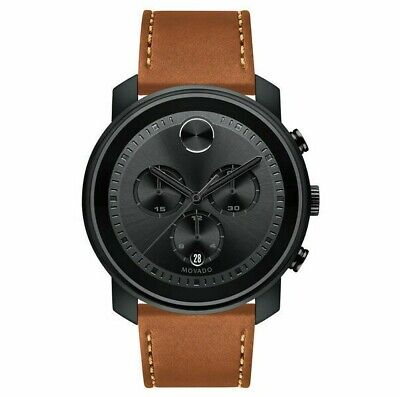 MOVADO BOLD 3600603 Men's Chronograph Watch Black Dial Leather Band $795 NEW