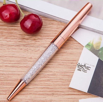 Rose Gold Crystalline Stardust Made With Swarovski Crystals Ballpoint Pen UK NEW