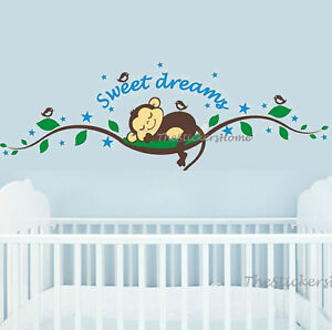 Cheeky-Monkey-Tree-Sleep-Wall-Sticker-Art-Decal-Nursery-Baby-Kids-Bedroom-Decor