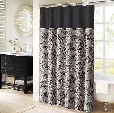 Black Shower Curtain Jacquard Paisley Bathroom Decor Fabric Housewarming Gifts (Black Jacquard Shower Curtain)