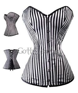 Black-White-Vertical-Zebra-CORSET-With-G-String-S-6X-A110