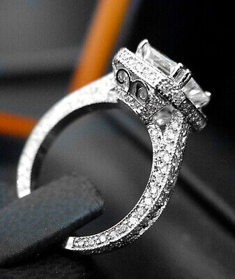 2.25 ct. Asscher Cut Halo Micro Pave Diamond Engagement Ring GIA I, VS1 18k WG 5