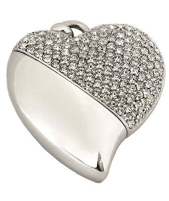 Heart Shaped Usb (Heart Shaped w. Crystal Design, USB Brass Funeral Cremation Urn Pendant Necklace)
