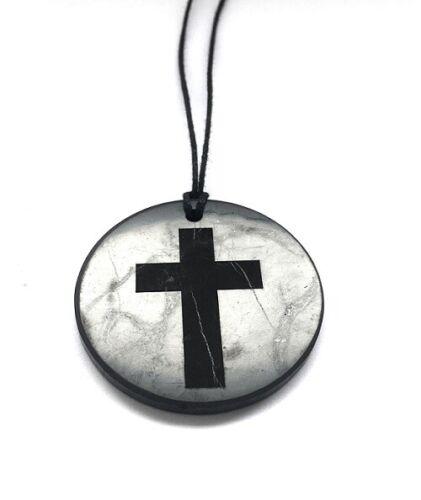 Pendant Catholic Cross engraved shungite Fullerenes Karelia EMF protection 45%