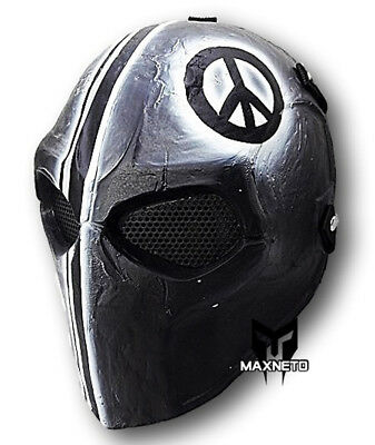"Tactical Airsoft Paintball BB Gun Full Face Mask Mesh Protective Gear ""Peace"""