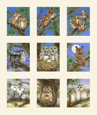 Elizabeth's Studio ~ Owls Trees Night Bird Panels ~ 100% Cotton Quilt Fabric