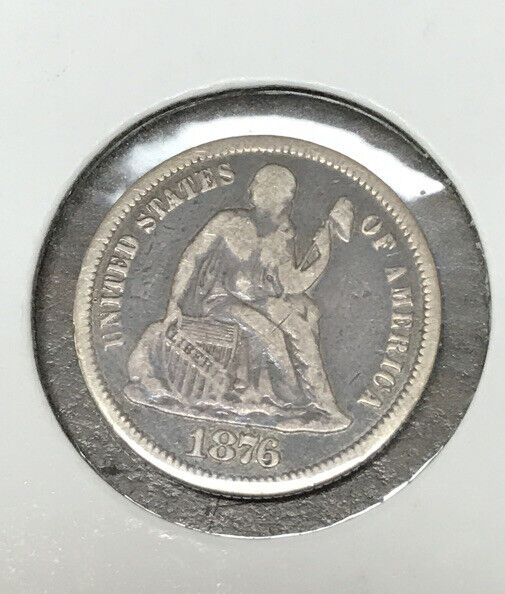 1876 SEATED LIBERTY DIME LOVE TOKEN V F INITIALS NO HOLE