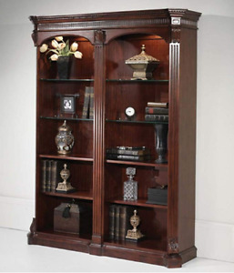 Solid Wood Double Bookcase with Recessed Lighting