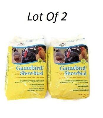 Lot Of 2 Manna Pro Complete Farm Gamebird / Showbird Crumble Feed 5 Pound Bag Mint 5 Pound Bag
