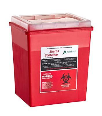 Adirmed Sharps Needle Disposal Container 8 Quart With Flip-open Lid