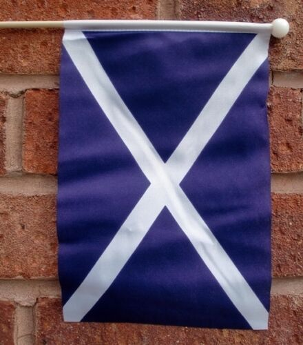 "SCOTLAND ST ANDREW HAND WAVING FLAG medium 9"" X 6"" wooden pole flags SCOTTISH"