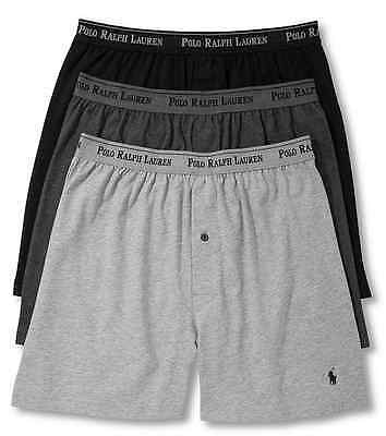 Polo Ralph Lauren Classic Fit Three Cotton Knit Boxers Multi Color Gray Black -