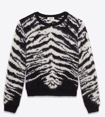 $1295 Saint Laurent Paris Tiger Sweater Sz M YSL SLP Hedi Slimane Raf Crewneck