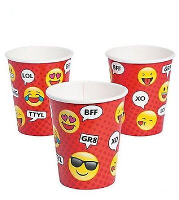 - 8 Emoji 9 Ounce Paper Cups Characters Texting LOL BFF Fun Kids Birthday Party EY