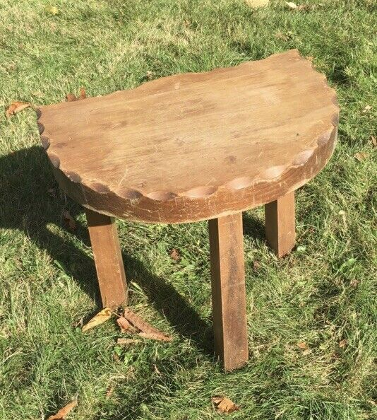 Antique Stoware Farm Barn Stool Cow Milking Bench Aged Patina Country Decor