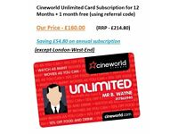 Cineworld Unlimited eCode-12-months+1 month free (except-London-West-End)