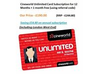 Cineworld Unlimited eCode-12-months+1 month free (including-London-West-End)